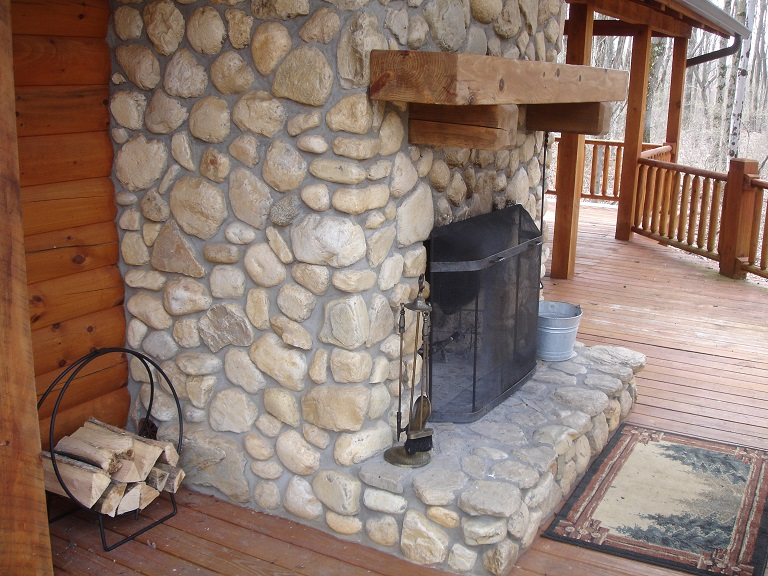 View of the deck fireplace